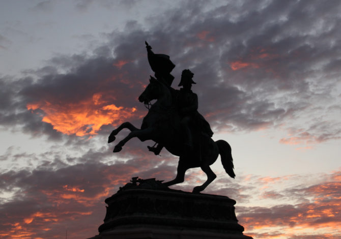 Vienna, Austria - October 11th, 2011: The Statue of Archduke Charles on Heldenplatz in Vienna in the sunset. The monument sometimes looks magical on the evening.