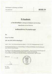 Erlaubnis zur heilkundlichen Psychotherapie
