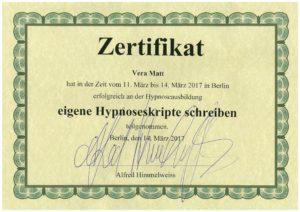 Weitere Hypnose Ausbildungen bis 2005 - 2018