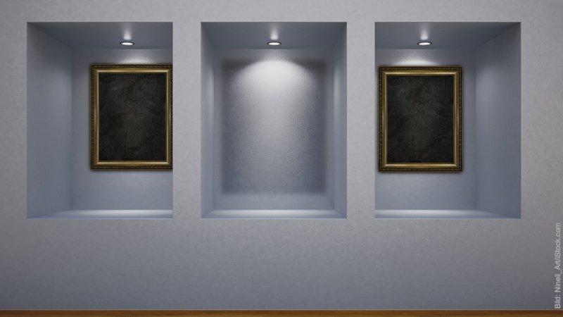Missverständnisse durch falsche innere Bilder. Eine Bildergalerie. Es sind drei Nischen zu sehen. In der linken und der rechten hängt ein Bild, die Mitte ist leer.
