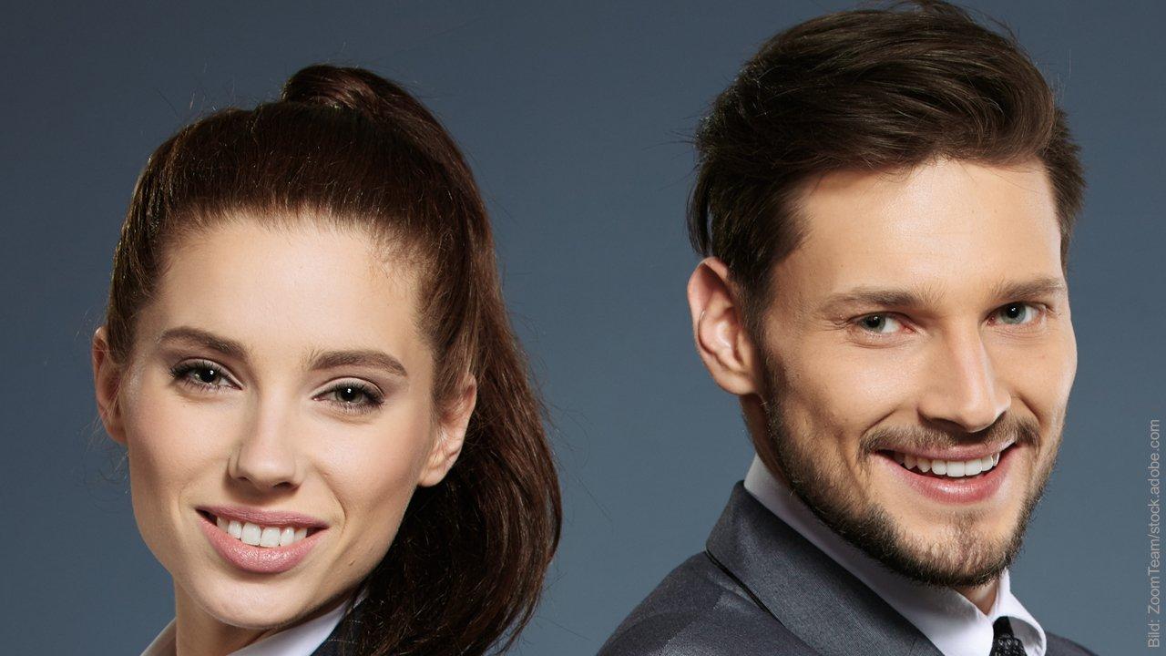 Unternehmer Paare: 13 Wege, um die 5 Hauptprobleme zu lösen: Junges Paar im Anzug.