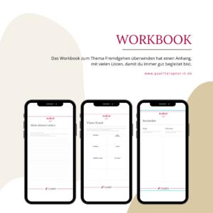 Workbook Fremdgehen aufarbeiten. Auf dem Bild sind 3 Auszüge des Workbooks auf 3 Handys gezeigt.
