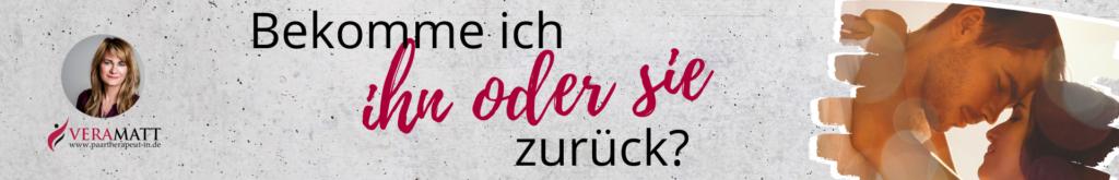 Ex zurück Banner: Küssende und Text